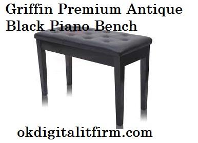 Griffin Premium Antique Black Piano Bench