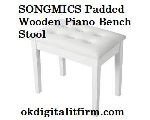 SONGMICS Padded Wooden Piano Bench Stool