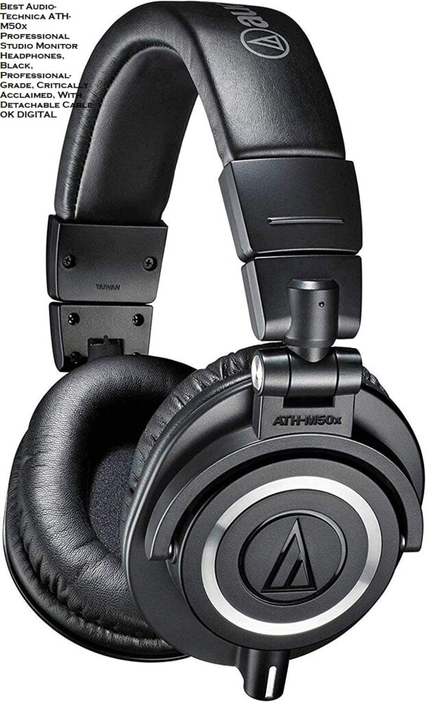 Best Audio-Technica ATH-M50x Professional Studio Monitor Headphones, Black, Professional-Grade, Critically Acclaimed, With Detachable Cable