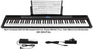 Best Donner DEP-20 Beginner Digital Piano 88 Key Full Size Weighted Keyboard