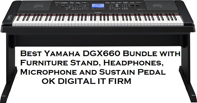 Best Yamaha DGX660 Bundle with Furniture Stand, Headphones, Microphone and Sustain Pedal