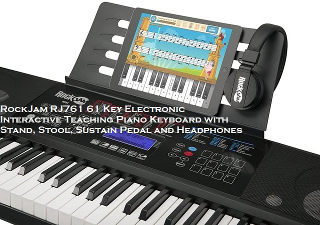 Best RockJam RJ761 61 Key Electronic Interactive Teaching Piano Keyboard With Stand, Stool, Sustain Pedal And Headphones (RJ761-SK)